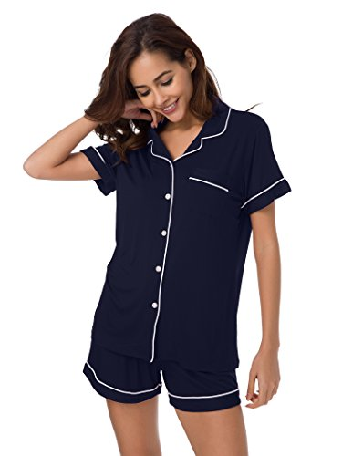 SIORO Pajamas for Women Plus Size Short Sleeve Sleepwear Ladies Loungewear Soft Cotton Pajama Set Shorts, Navy with White Piping, XL