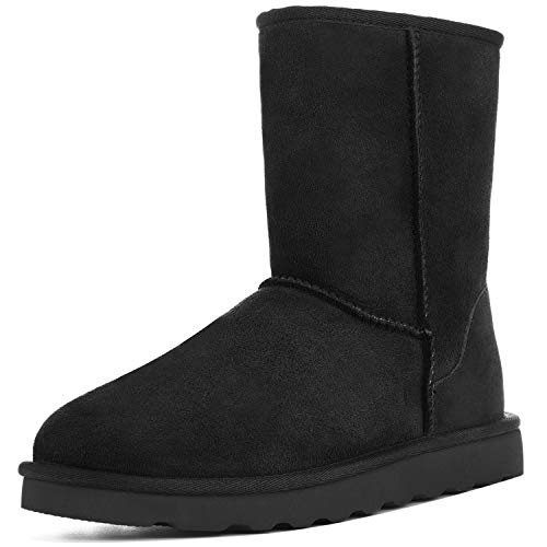 WaySoft Women's Genuine Australia Sheepskin Snow Winter Boots, Classic Water Resistance Shearling Boots (7 M US, Black)