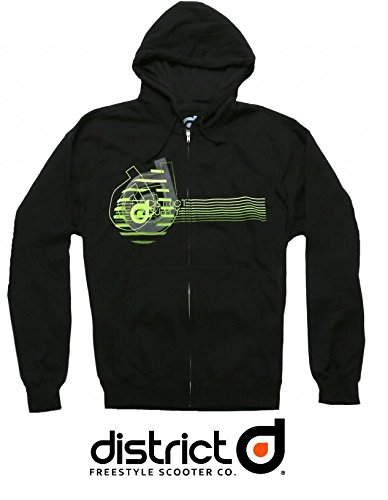District Fleece Zipper con Cappuccio Neon XXL