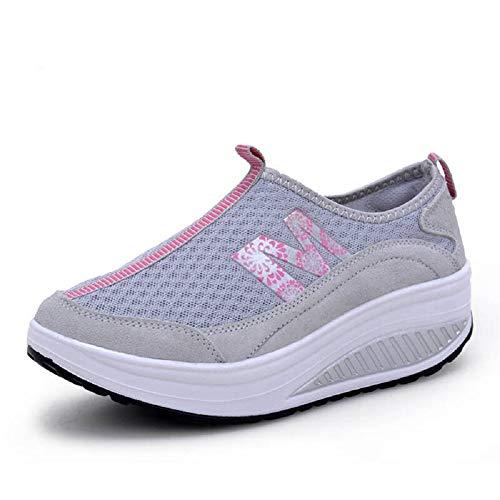 Brathable 39 Qiusa Gris Rocker Mesh Zapatos Color Mujer Imprimir EU Gris tamaño de Trainers Sole qZxSq0Ow