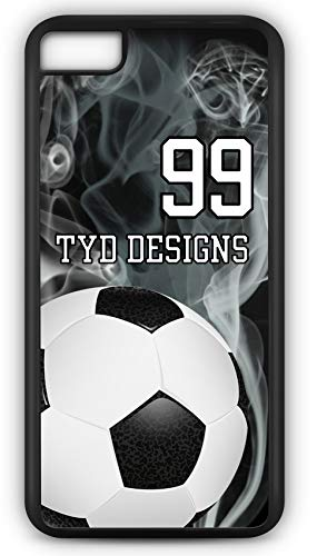 iPhone 6 Plus 6+ Case Create Your Own Soccer Center Circle Player Number Name Team Name Customizable TYD Designs in Black Plastic