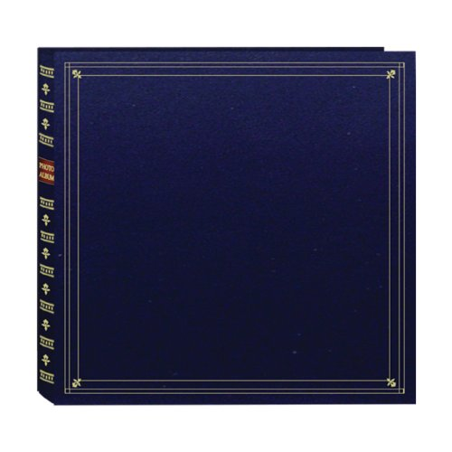 Pioneer 300 Pocket Memo Photo Album - Archival, Memo Space, European Bonded Leather, Bookshelf Design, Fits 3.5 x 5 Inch Photos - Navy Blue