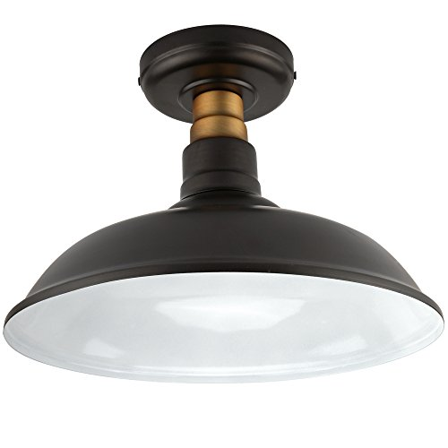(Vintage Semi Flush Mount Ceiling Light, Oil Rubbed Bronze/Antique Brass Finish,Industrial Ceiling Lamp Fixture Suitable for Bedroom Living Room Hallway,E26 Medium)