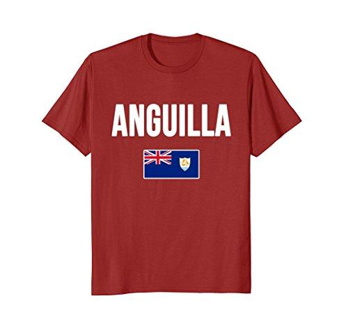 Mens Anguilla Flag T-shirt Medium Cranberry