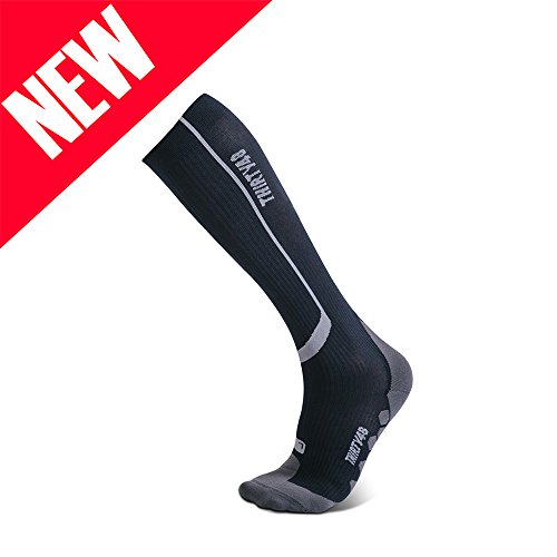 Thirty 48 Elite Compression Socks, Graduated 20-30mmHg Compression for Performance and Recovery, Best for Running, Shin Splints (S/M (US Women 7-10.5 / US Men 6-9.5), [1 Pair] Black/Grey)