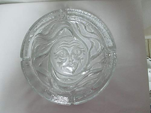 Vintage Blenko Extra Large Round Crystal Clear Sun Face Pressed Glass Ashtray
