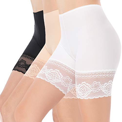 Women Lace Shorts Under Dresses Anti-Friction Lace Short Legging Thigh Band Lace Safety Pants (M Size)