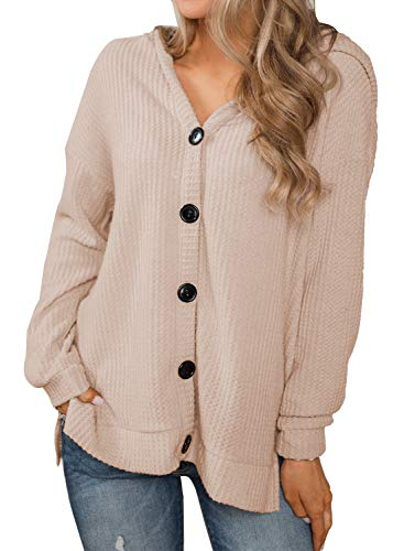 Sleeve V Neck Button Down Shirts Cute Casual Hoodie Blouse (Large, Lotus Root) ()