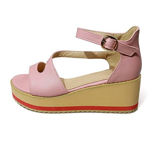 Amoonyfashion Dames Pu Kitten Hakken Open-teen Solide Gesp Sandalen Roze