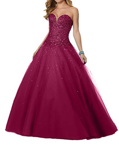 Festlichkleider Braut Partykleider A Abendkleider La Linie Abschlussballkleider mia Rock Pailletten Herzausschnitt Weinrot Luxurioes BxR0w8q05