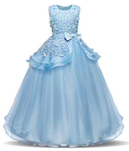 Bestfive Flower Girls Formal Wedding Dress Kids Ball Gowns Party Pageant Dance Dress Blue Size - Kids Dress Party For