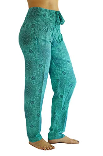 Girls Flower Crop Pant - PIYOGA Women's Petite Yoga Pants, Straight Leg (US 0-10) - Teal Flower of Life