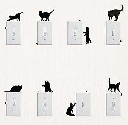 Amazon Com Wall Sticker 8 Pcs Cute Cat Design Light Switch Decor