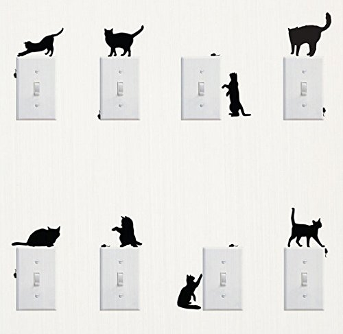 Wall Sticker, 8 pcs Cute Cat Design Light Switch Decor Decals Wall Stickers -