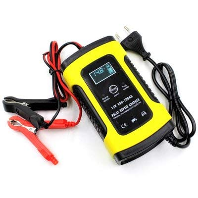 HaiMa 12V 5A Motorcycle Car Battery Charger Full Intelligent Universal Repair Type Lead Acid Storage - Yellow