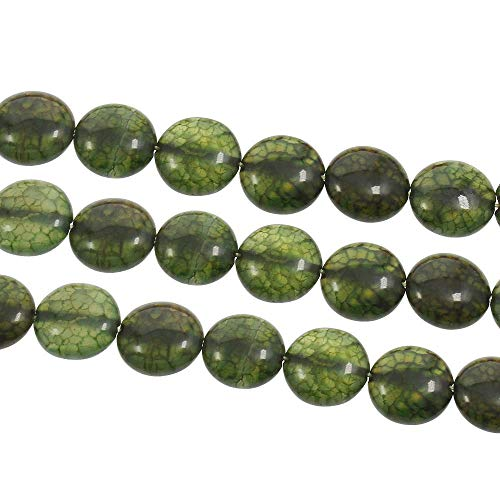 10pcs Green Olive Milky Crystal Round Coin Dragon Veins Agate Natural Gemstone Beads Flat Puffed 14mm x 6mm Hole 1mm (Beads Puffed Coin)