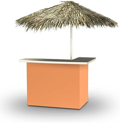Best of Times 2001W1330P Solid PALAPA Portable Bar and 8 ft Tall Square Umbrella, One Size, Pantone 7410 Peach