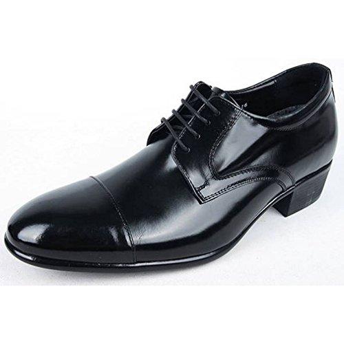 Epicstep Heren Eenvoudige Jurk Formele Zakelijke Lederen Lace-up Hoge Lift Oxford Schoenen Zwart