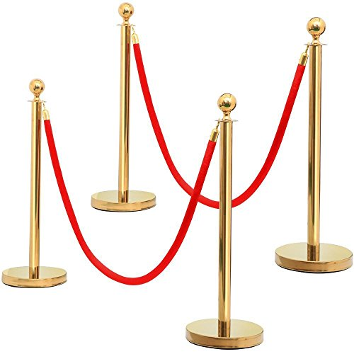 Yaheetech 4pcs Gold Round Top Stainless Steel Stanchion Crowd Control Barrier Posts w/6.5' Red Rope -