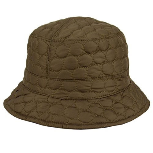 Foldable Water Repellent Quilted Rain Hat w/ Adjustable Drawstring, Bucket Cap - Olive