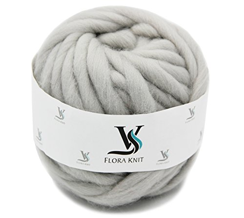 Merino Wool Super Chunky Yarn- Bulky Roving Yarn for Finger Knitting,Crocheting Felting,Making Rugs Blanket and Crafts by FLORAKNIT (Light Gray, Chunky-40mm-1.1LB)