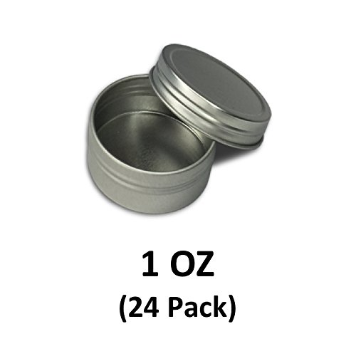 1 oz (24 Pack) Screw Top Shallow Round Steel Tin Can. Great for beauty, cosmetics, travel and cooking accessories. | MagicWater Supply (Tin Retail)