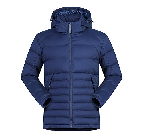 Hooded Winter Men's Outwear Dark Stand Coat Jacket Padded Collar Blue Lsm Puffer Quilted Coat nqXxBff1