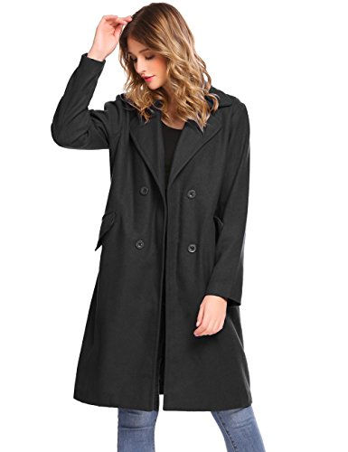 Lightweight Silk Coat (Women's Turn Down Collar Long Trench Coat Solid Long Pea Coat Overcoat (Black, XL))