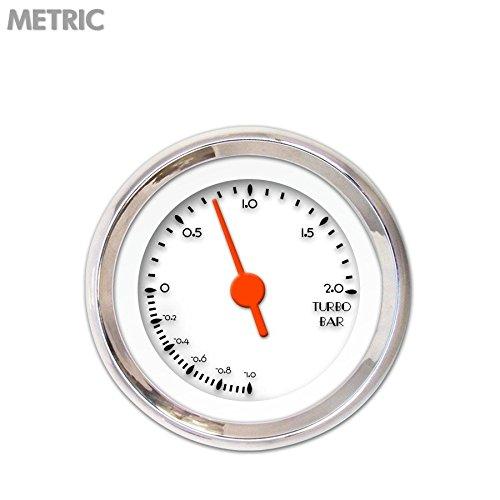 Aurora Instruments 6538 DECO XT White Metric Turbo Gauge Orange Vintage Needles, Chrome Trim Rings, Style Kit DIY Install