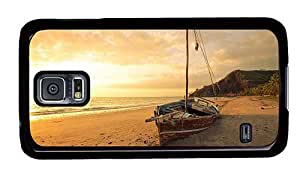 Hipster Samsung Galaxy S5 Case DIY cover Old Sailboat Sunset PC Black for Samsung S5