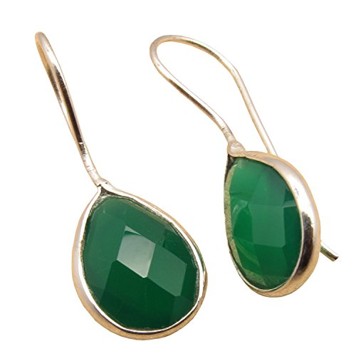925 Sterling Silver Plated Natural Gemstones Highly Polished Teardrop Earrings ! Birthstone Fashion Jewelry