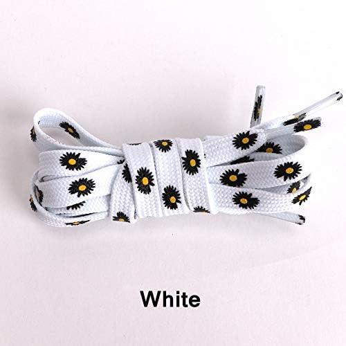 TMYQM 1Pairリトルヒナギク靴ひも漫画の印刷ファッション女性メンズ靴ひもハイトップキャンバススニーカー靴ひも靴ひもフラッツ (Color : White, Size : 120CM)