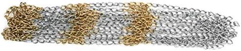 Facibom Iron Chain Basketball Net Professional Standard Heavy Duty Basketball Goal Net Replacement Basketball Net Gold Silver