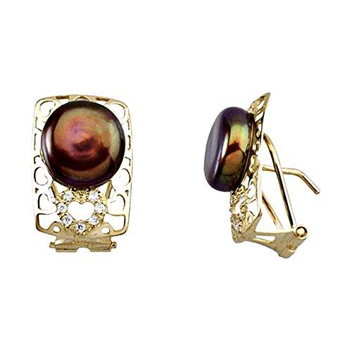 Boucled'oreille 18k or brun zircons coeur perle ajouré [AA6403]