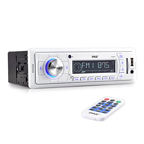 Pyle Stereo Marine Headunit Receiver - 12v Single DIN Style Digital Boat in Dash Radio System with MP3, USB, SD, AUX, RCA, AM FM Radio - Remote Control, Power Wiring Harness - PLMR18 (White) ()