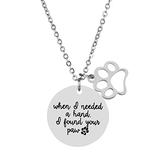 Girl's Gift Silver Tone Pendant Charm Necklace for Dog Cat Animal Lovers Pet ()
