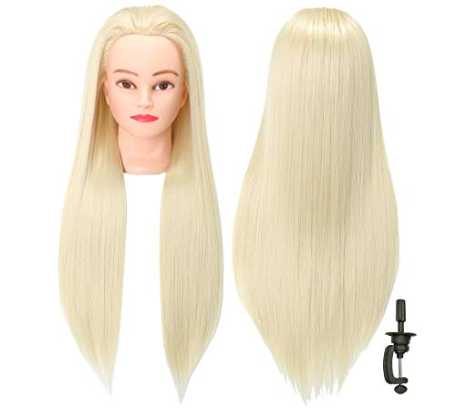FUTAI 30 Hair Mannequin Head Loong Hair Manikin Head with Perfect Curling with Synthetic Fiber Hair with Stand (613)