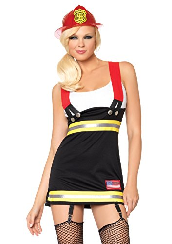 Leg Avenue Women's Backdraft Babe Firefighter Costume, Black/White, Large]()