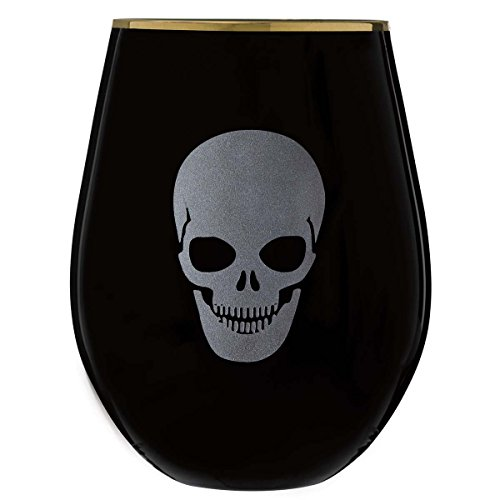Table Art Halloween Skull ON Gold Rim STEMLESS Wine Glass Black 4 Piece -