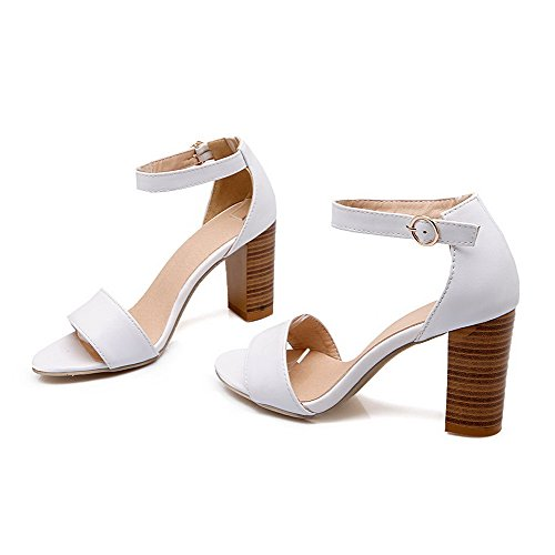 VogueZone009 Women's Buckle Pu Open Toe High Heels Solid Heeled-Sandals White SVgYlyuq