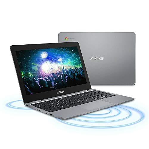 2020 Asus Chromebook 11.6 Inch Non-Touch Laptop, Intel Celeron N3350 up to 2.4 GHz, 4GB LPDDR3 RAM, 32GB eMMC, WiFi, Bluetooth, Webcam, Grey, Chrome OS + NexiGo 32GB MicroSD Card Bundle