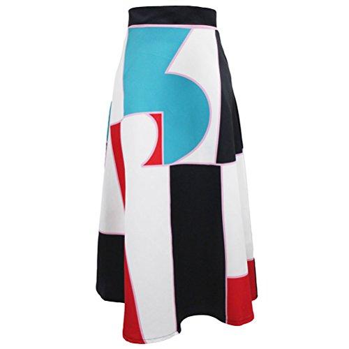 Christmas TomYork Big Irregular Print Black High Waist Maxi Skirt(Irregular,M)