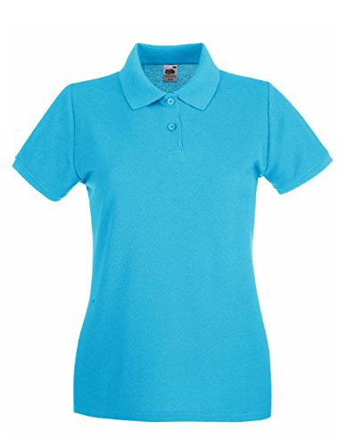 Fruit of the Loom - Lady-Fit Premium Polo - Azure Blue - XS (8) XS / 8,Azure Blue
