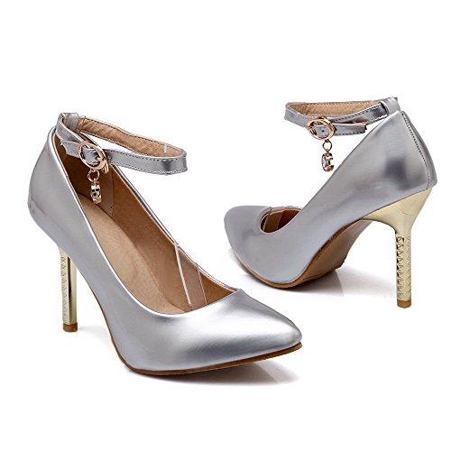VogueZone009 Damen Stiletto Rein Schnalle Spitz Schließen Zehe Pumps Schuhe Silber