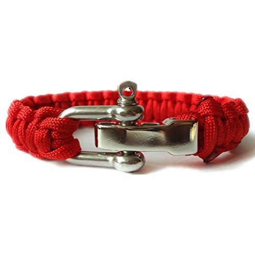 SWEETIE 8 Unisex Men's Women's Stainless Steel U Shackle Clasp Adj. Nylon Survival Bracelet - Red