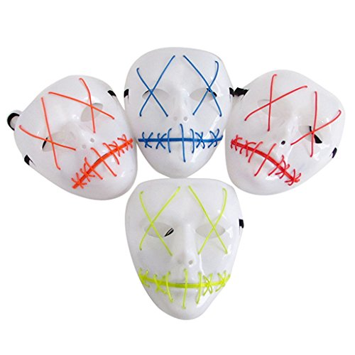 Cicitop 4 Pcs LED Scary Halloween Masks EL Wire Face Mask Plasic Masquerade Mask Festival Party Prop Carnivals Toy -