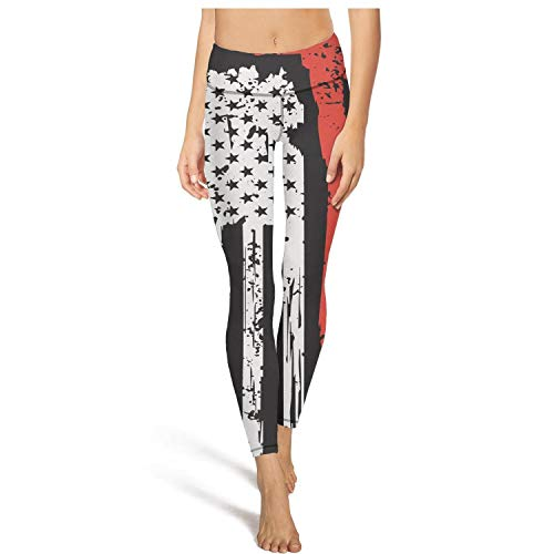 XUWU Womens High Waisted Yoga Pants Firefighter Red Line USA Flag Comfy Sports Leggings ()