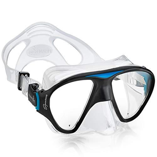 - Phantom Aquatics Signature Snorkeling Diving Mask - Premium Adult Scuba Snorkeling Impact Resistant Tempered Glass Dive Mask - Aqua