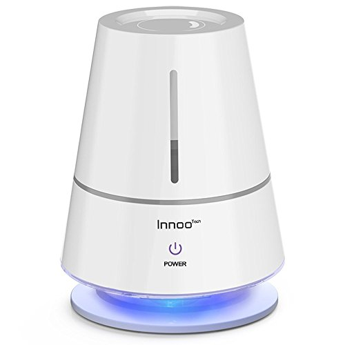 Innoo Tech Ultrasonic Cool Table Lamp Humidifiers | Automatic Shut-Off | Night Light Function | 360 Degree Rotatable Mist Outlets | 2.0L, White