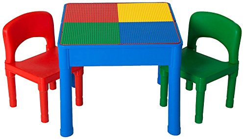 Play Platoon Kids Activity Table Set - 3 in 1 Water Table, Craft Table and Building Brick Table with Storage - Includes 2 Chairs and 25 Jumbo Bricks - Primary Colors